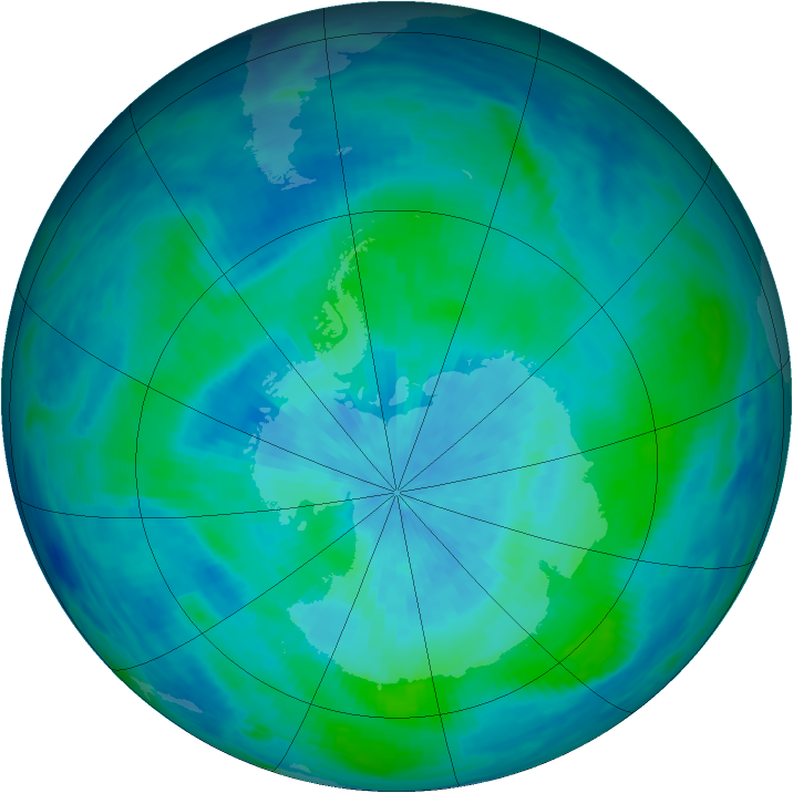 Antarctic ozone map for 10 March 1991