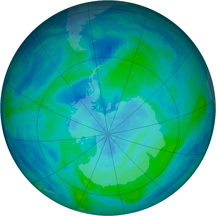 Antarctic ozone map for 11 March 1991