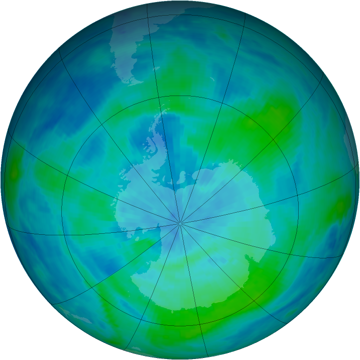 Antarctic ozone map for 12 March 1991