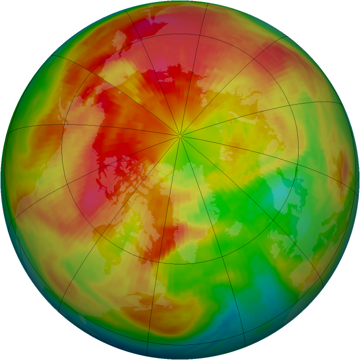 Arctic ozone map for 13 March 1991