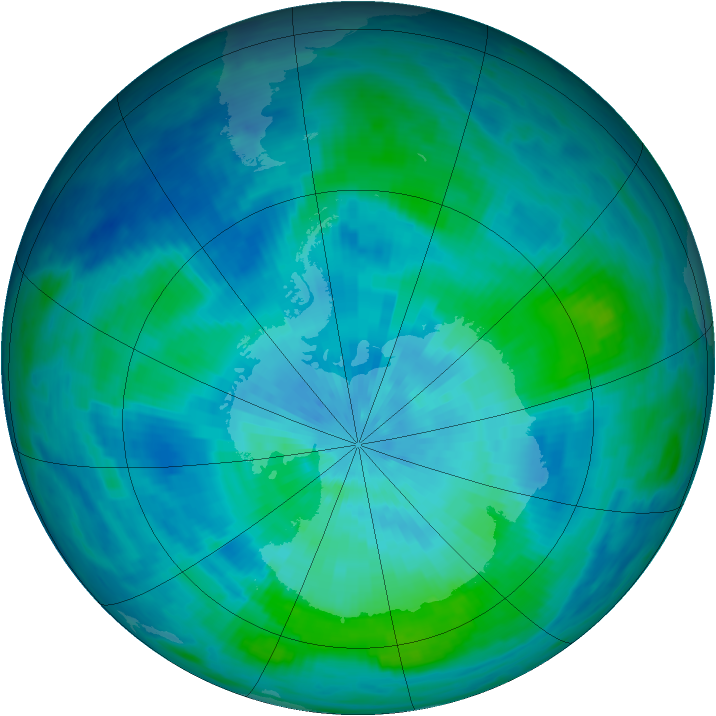 Antarctic ozone map for 13 March 1991