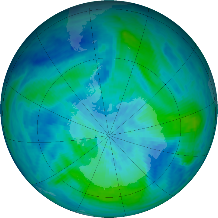 Antarctic ozone map for 14 March 1991