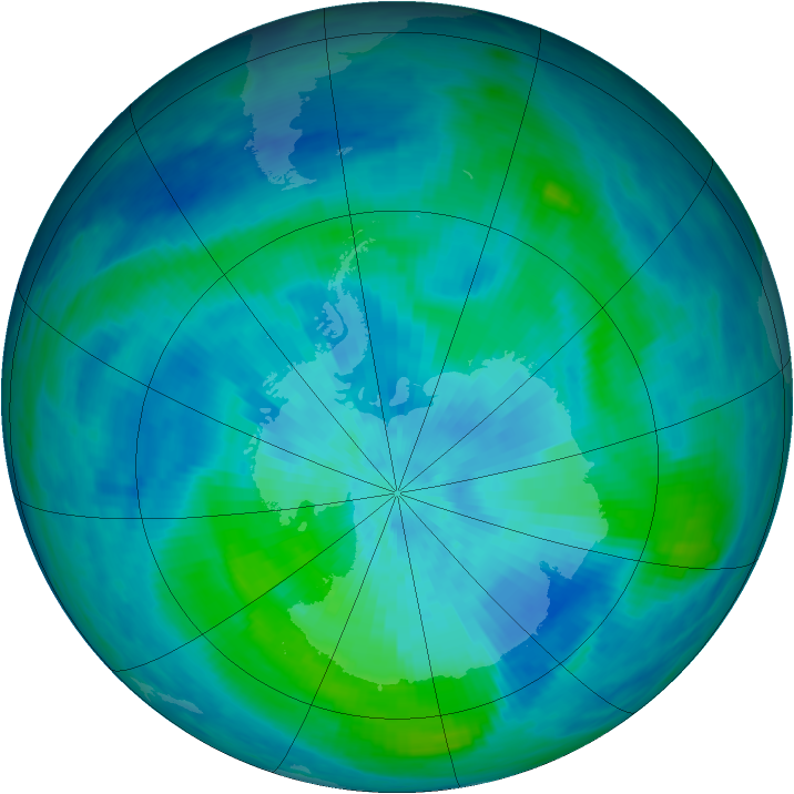 Antarctic ozone map for 15 March 1991