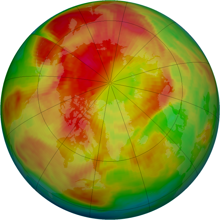 Arctic ozone map for 16 March 1991
