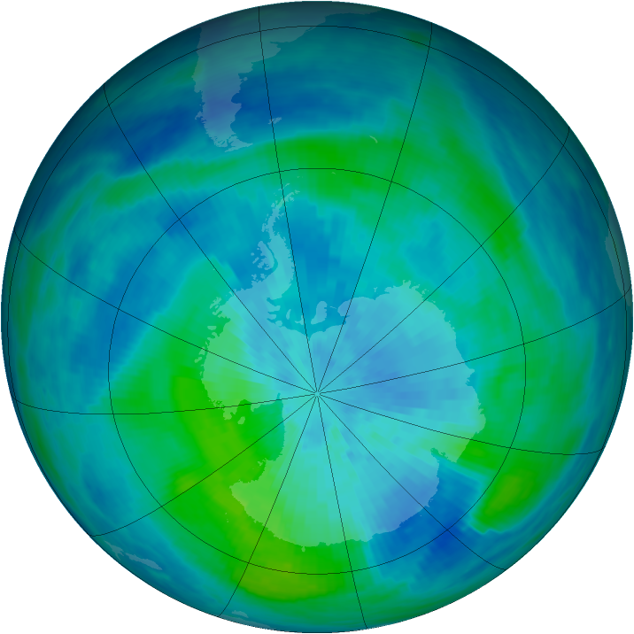 Antarctic ozone map for 16 March 1991