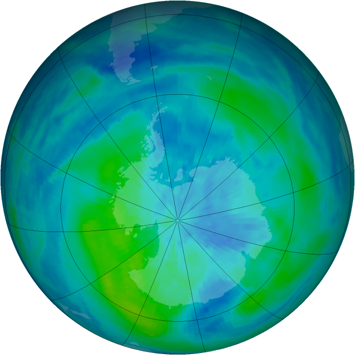Antarctic ozone map for 17 March 1991