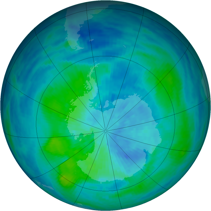 Antarctic ozone map for 18 March 1991