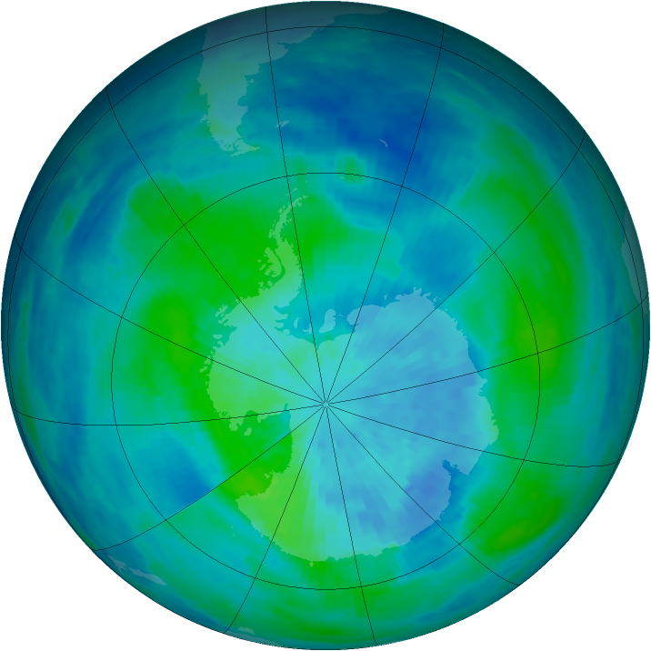 Antarctic ozone map for 19 March 1991