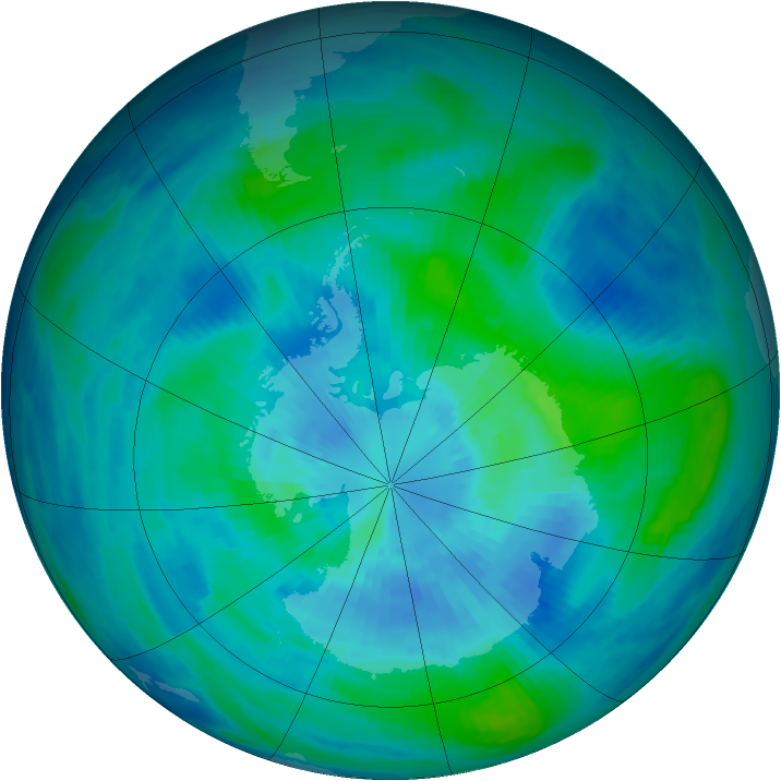 Antarctic ozone map for 23 March 1991