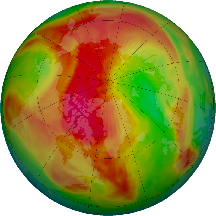 Arctic ozone map for 24 March 1991
