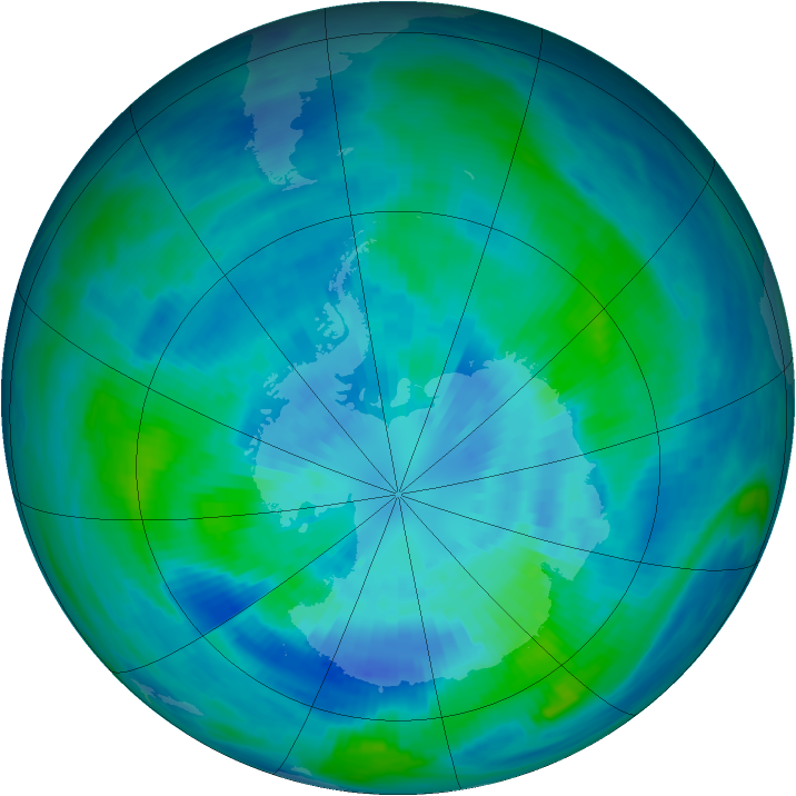 Antarctic ozone map for 26 March 1991