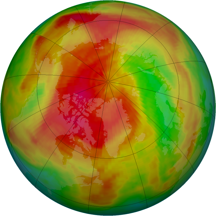 Arctic ozone map for 27 March 1991