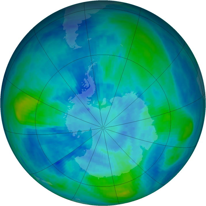 Antarctic ozone map for 28 March 1991