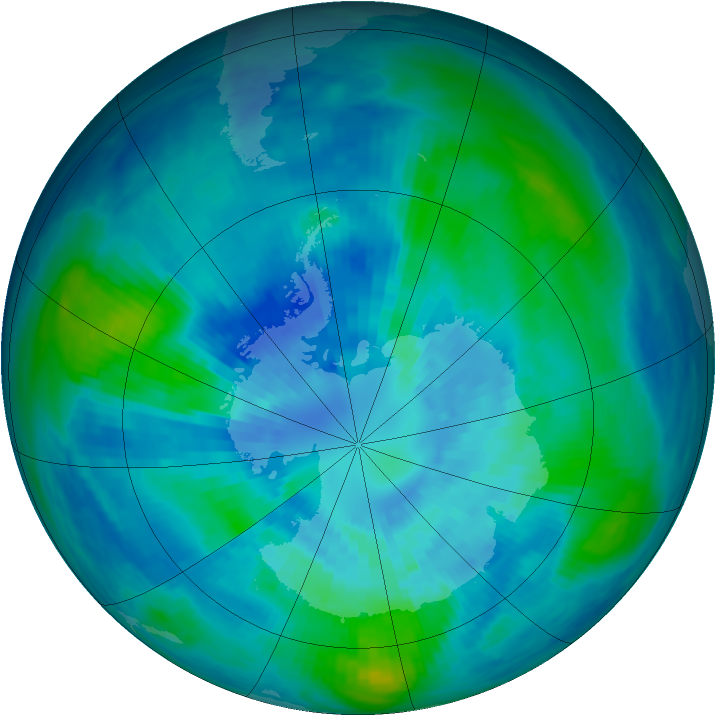 Antarctic ozone map for 29 March 1991