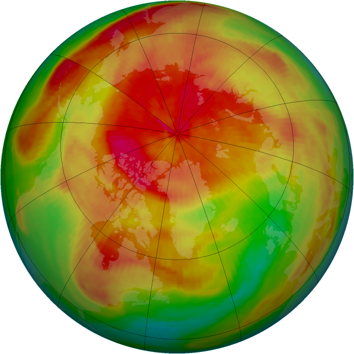 Arctic ozone map for 01 April 1991