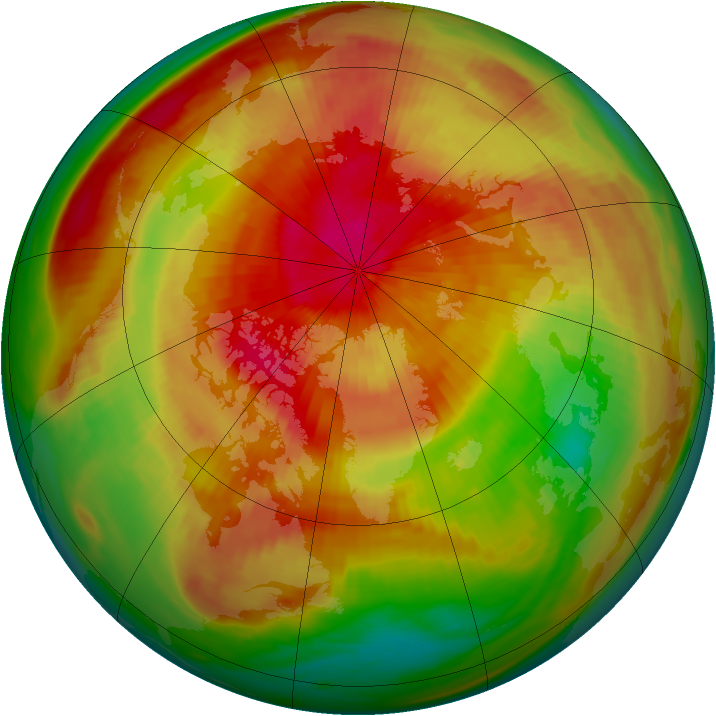 Arctic ozone map for 02 April 1991