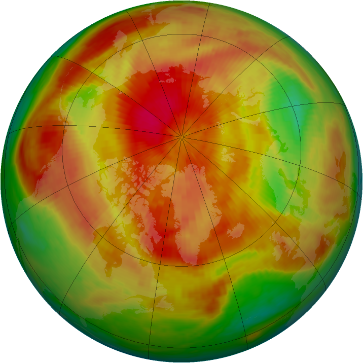 Arctic ozone map for 05 April 1991