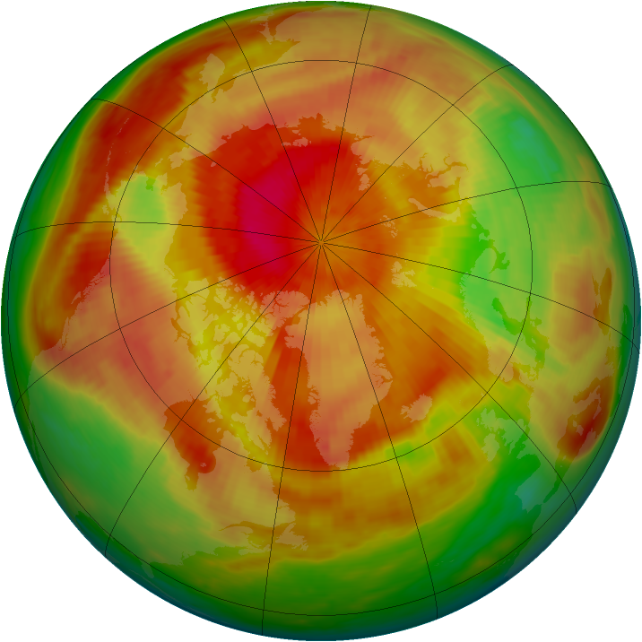 Arctic ozone map for 06 April 1991