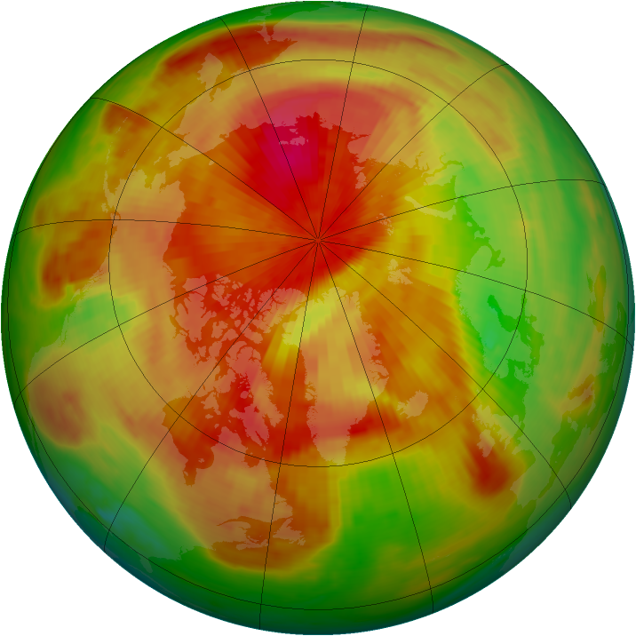 Arctic ozone map for 12 April 1991