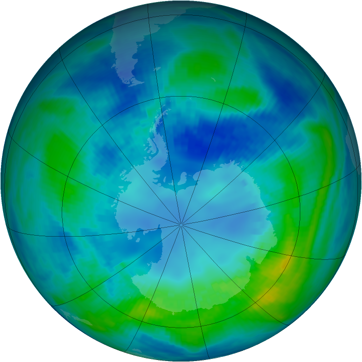 Antarctic ozone map for 20 April 1991