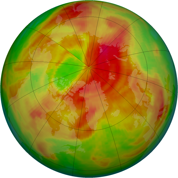 Arctic ozone map for 21 April 1991