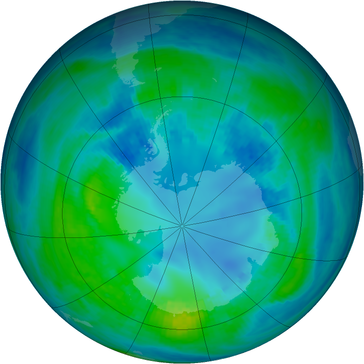 Antarctic ozone map for 26 April 1991