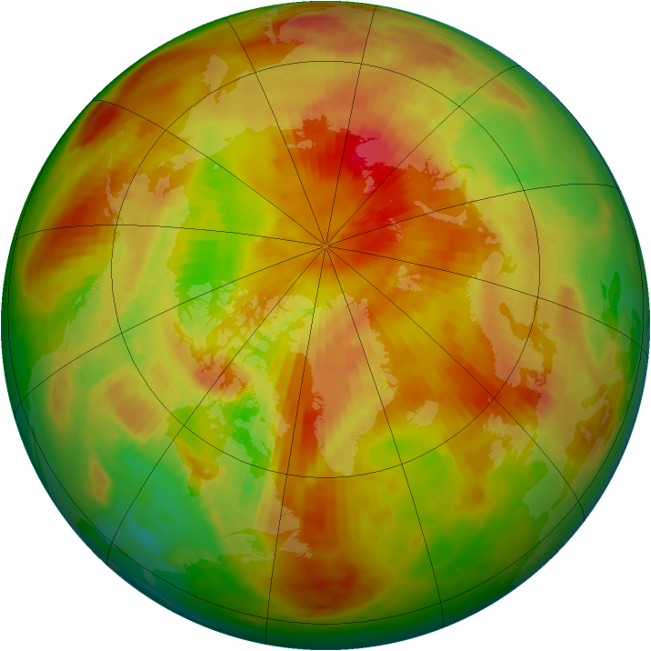 Arctic ozone map for 29 April 1991