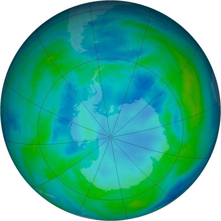 Antarctic ozone map for 30 April 1991