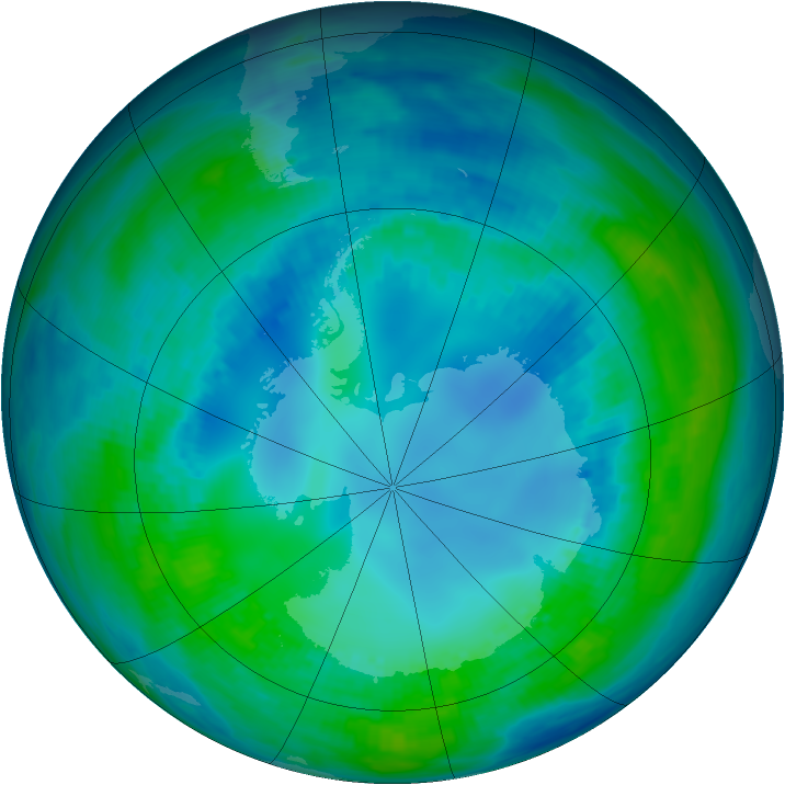 Antarctic ozone map for 01 May 1991