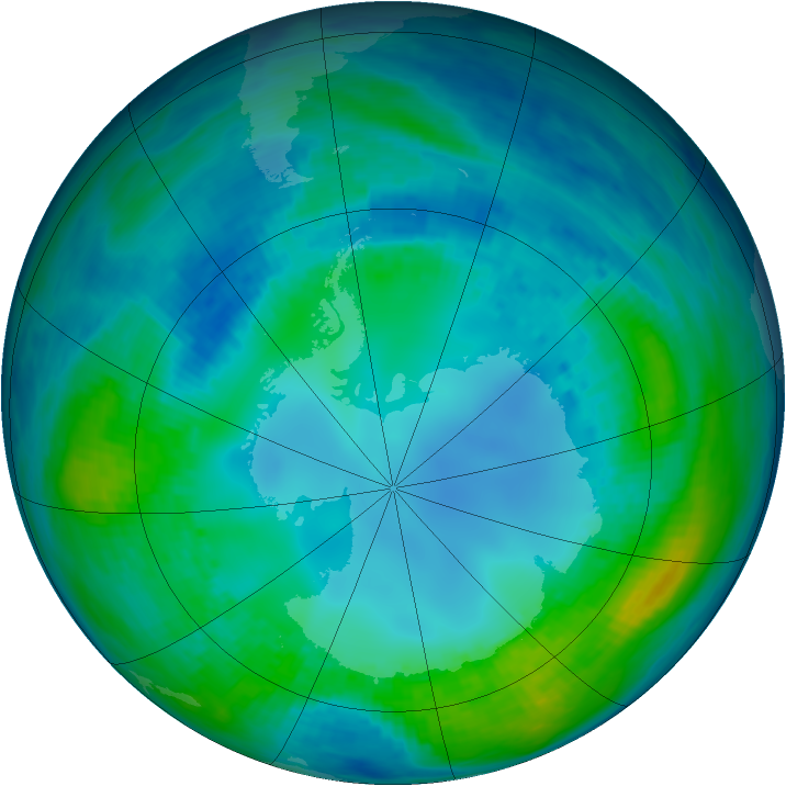 Antarctic ozone map for 04 May 1991