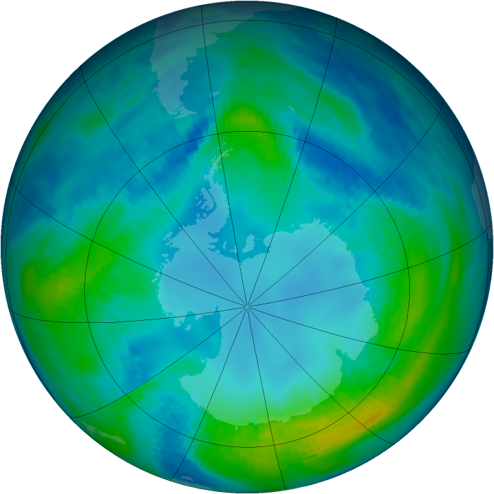 Antarctic ozone map for 05 May 1991
