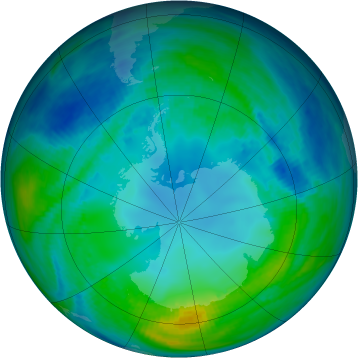 Antarctic ozone map for 07 May 1991