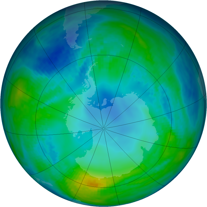 Antarctic ozone map for 08 May 1991