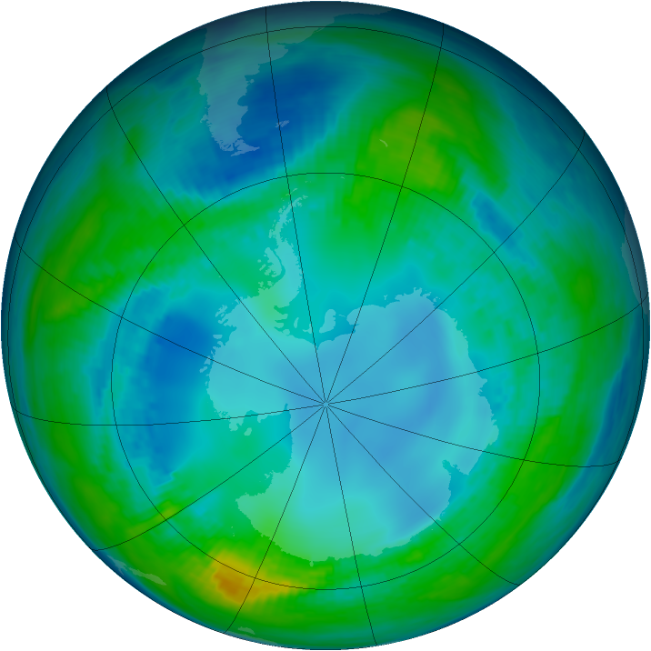 Antarctic ozone map for 10 May 1991