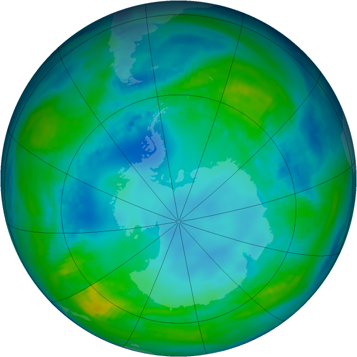 Antarctic ozone map for 11 May 1991