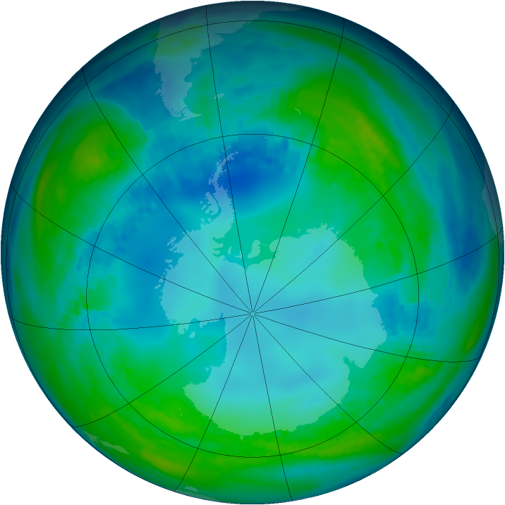 Antarctic ozone map for 12 May 1991