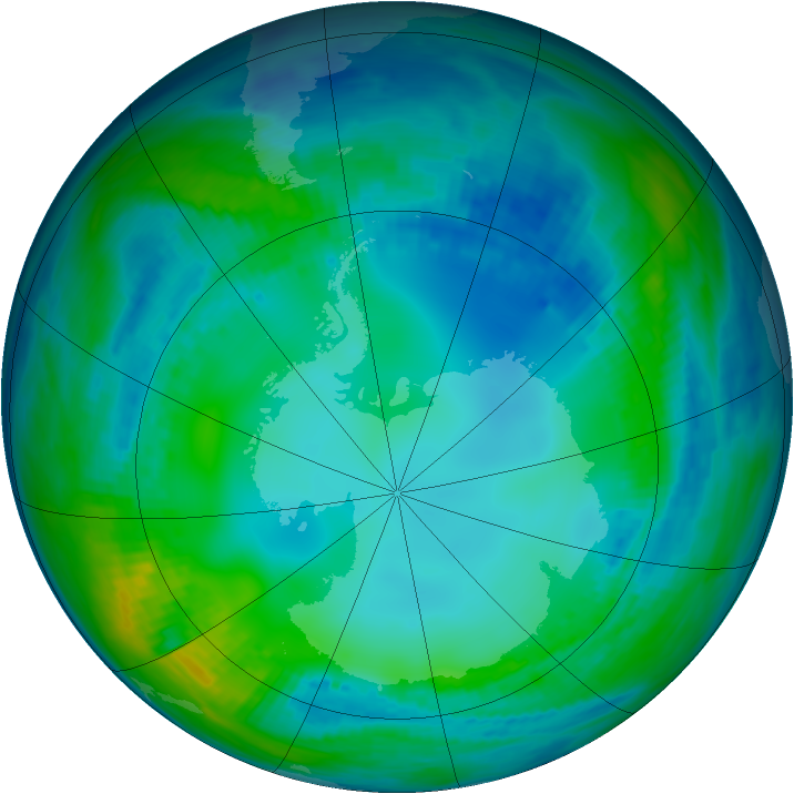 Antarctic ozone map for 17 May 1991