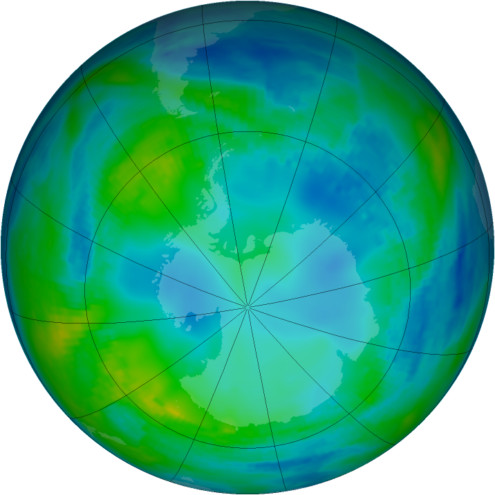 Antarctic ozone map for 18 May 1991