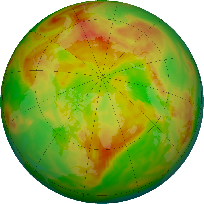 Arctic ozone map for 19 May 1991