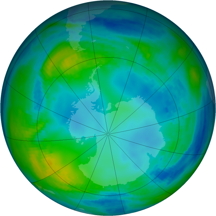 Antarctic ozone map for 19 May 1991