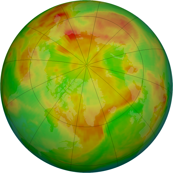 Arctic ozone map for 20 May 1991