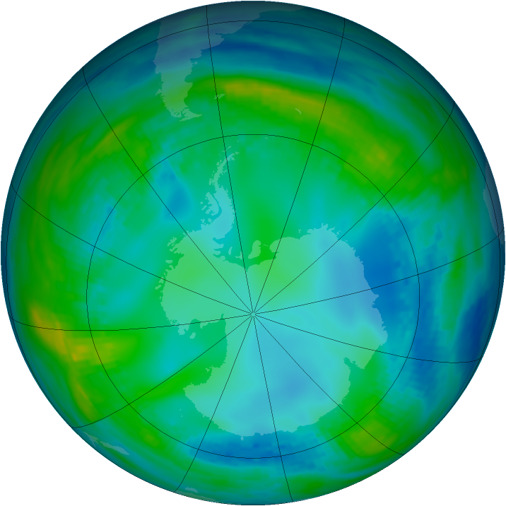 Antarctic ozone map for 21 May 1991