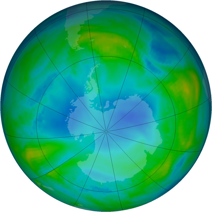 Antarctic ozone map for 24 May 1991