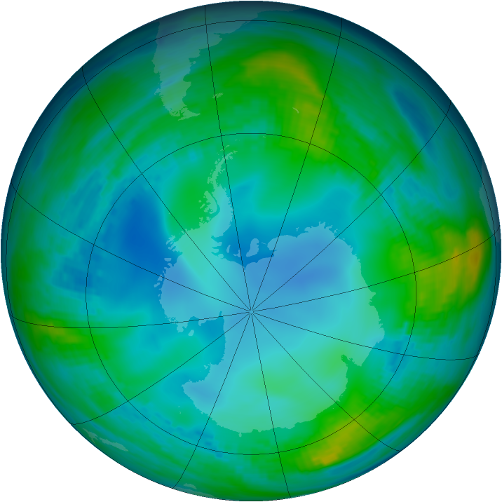 Antarctic ozone map for 25 May 1991