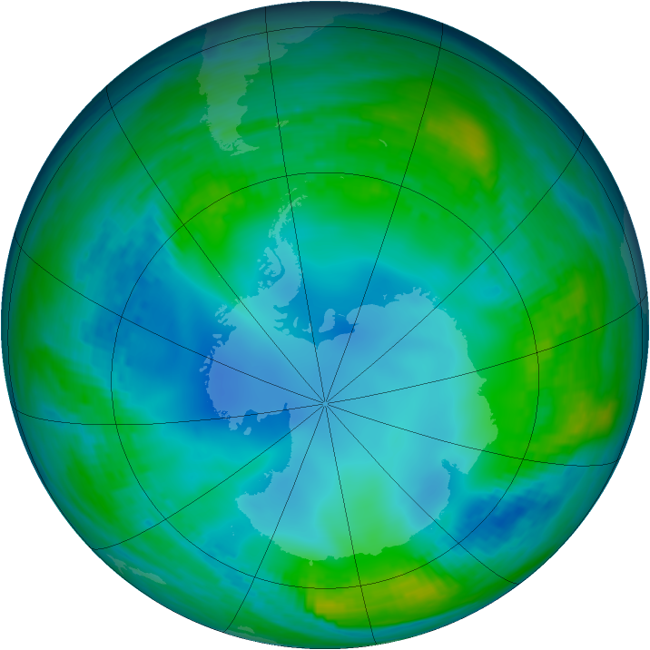 Antarctic ozone map for 26 May 1991