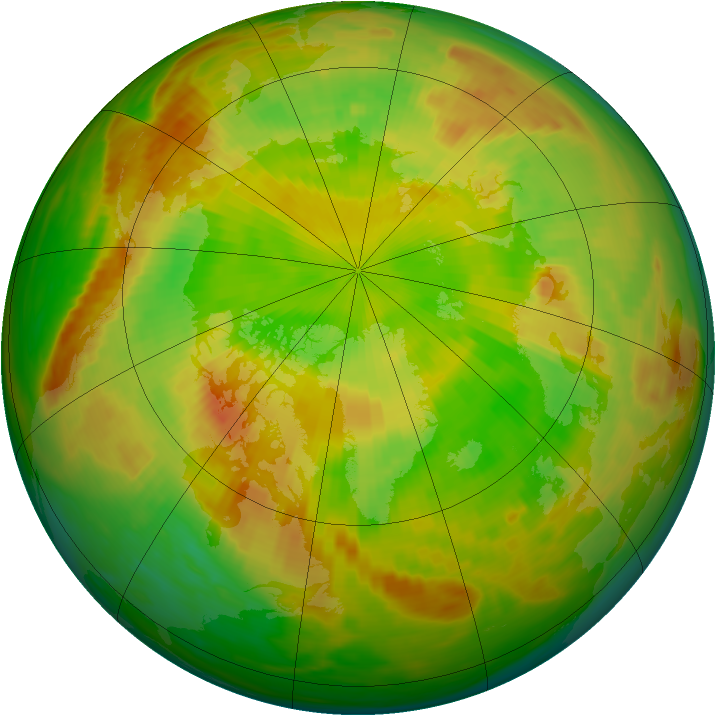 Arctic ozone map for 29 May 1991