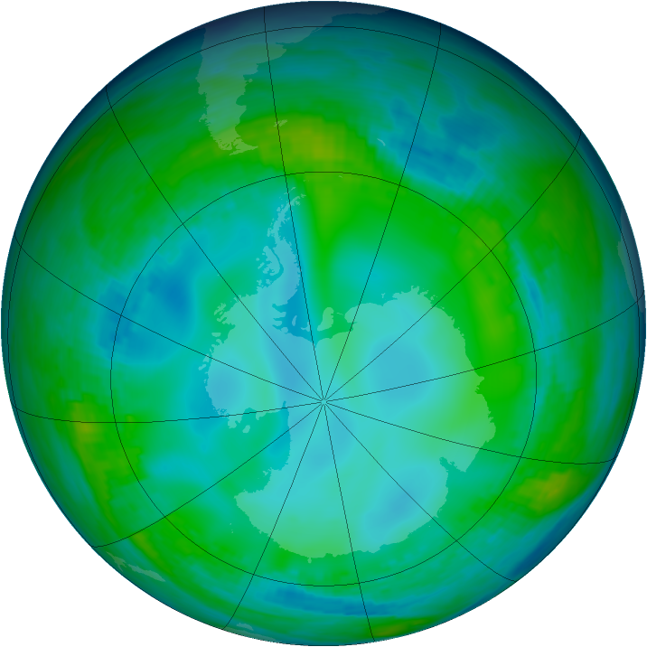 Antarctic ozone map for 29 May 1991