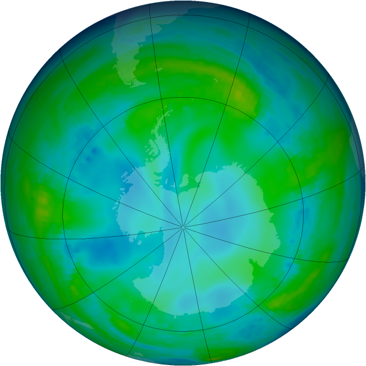 Antarctic ozone map for 30 May 1991
