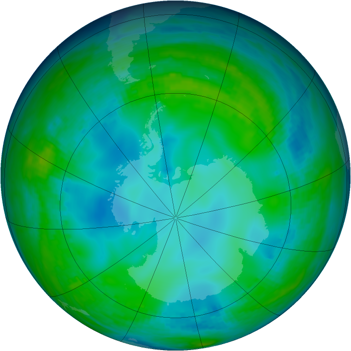 Antarctic ozone map for 31 May 1991
