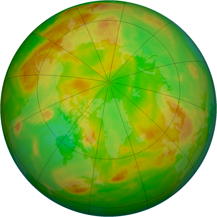 Arctic ozone map for 05 June 1991